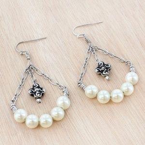 Pearl & Burnished Silvertone Chandelier Earrings